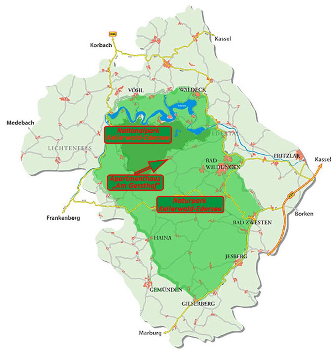 Karte NationalNaturpark - günstige Ferienwohnungen 200m bis Nationalpark Kellerwald-Edersee